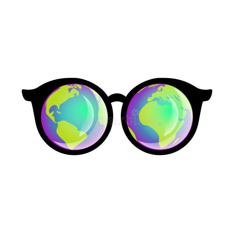 les verres 3D avec la réflexion sur le fond blanc dirigent l'illustration illustration de vecteur