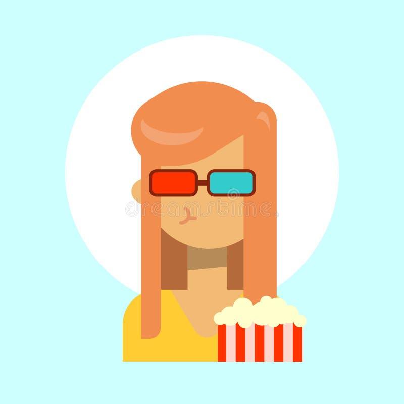 Les verres 3d de port femelles avec émotion de maïs éclaté profilent l'icône, visage de sourire heureux de portrait de bande dess illustration libre de droits