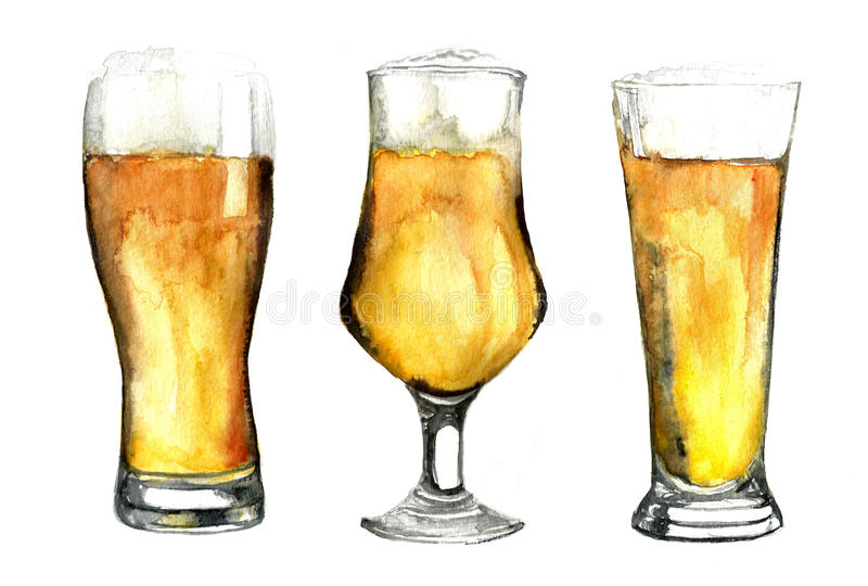 Les verres de bière d'aquarelle ont placé d'isolement sur le fond blanc illustration stock