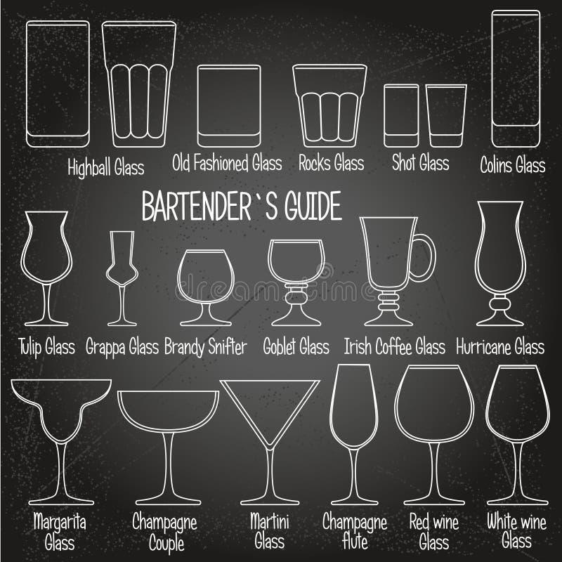 Les verres de boissons avec des titres, les icônes noires et blanches ont placé 1 illustration stock