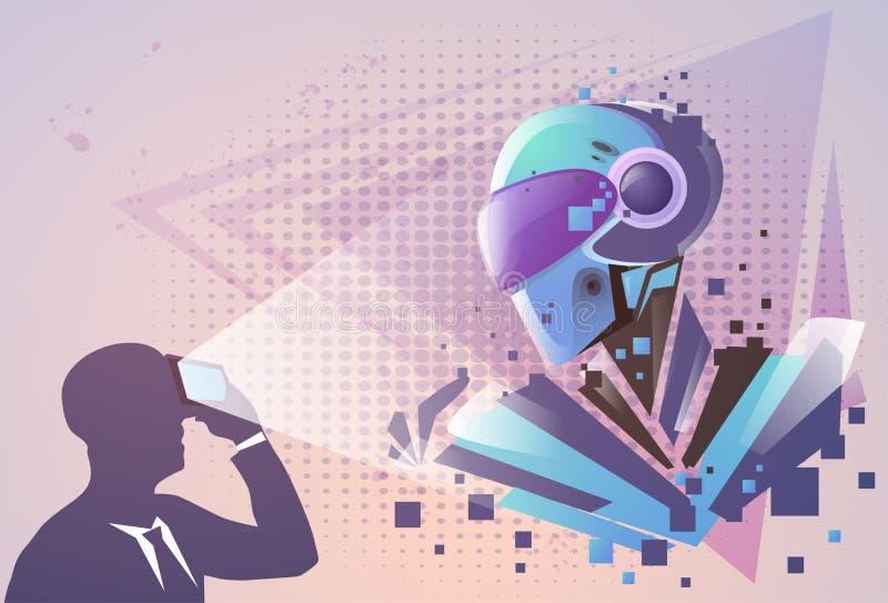 Les verres de Digital de réalité virtuelle d'usage d'homme d'affaires de silhouette voient le robot moderne illustration stock