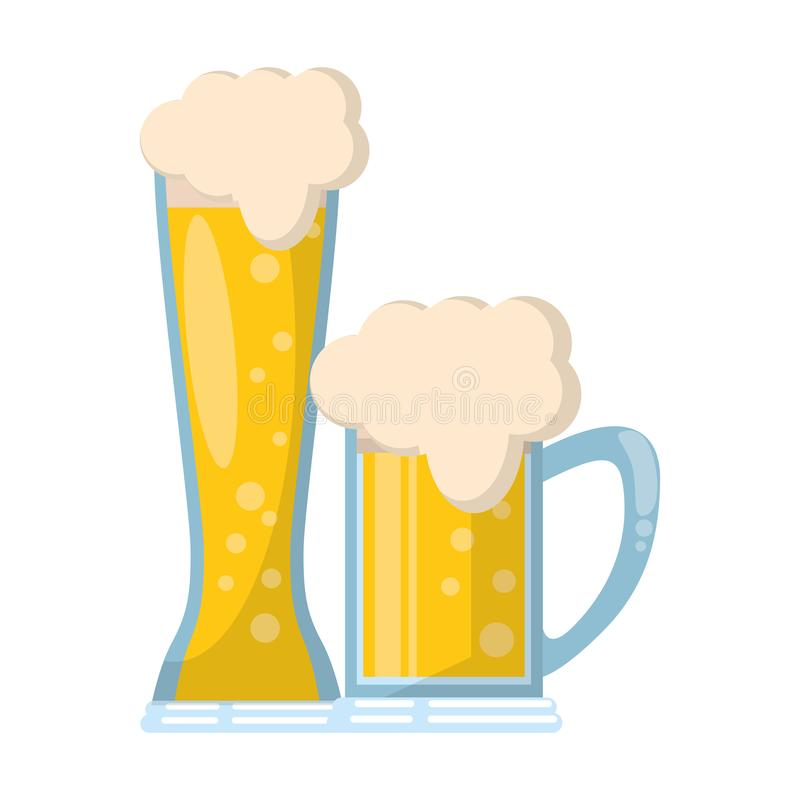 Les verres de la bande dessinée d'icône de bière ont isolé illustration de vecteur