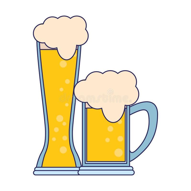 Les verres de la bande dessinée d'icône de bière ont isolé les lignes bleues illustration libre de droits