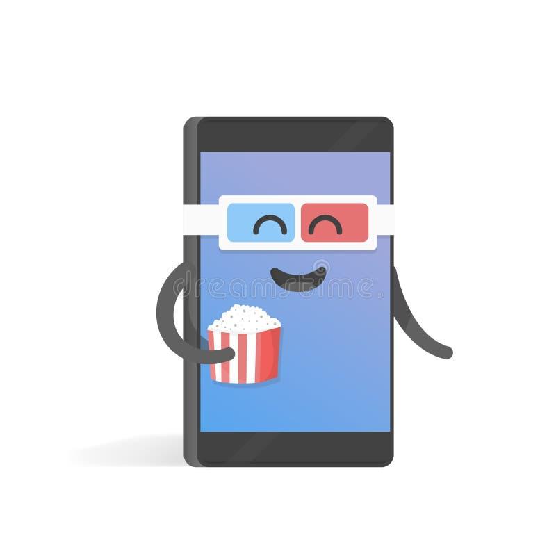 Les verres de Smartphone 3d avec le concept de maïs éclaté observent la salle de cinéma en ligne de vidéos Téléphone mignon de pe illustration libre de droits
