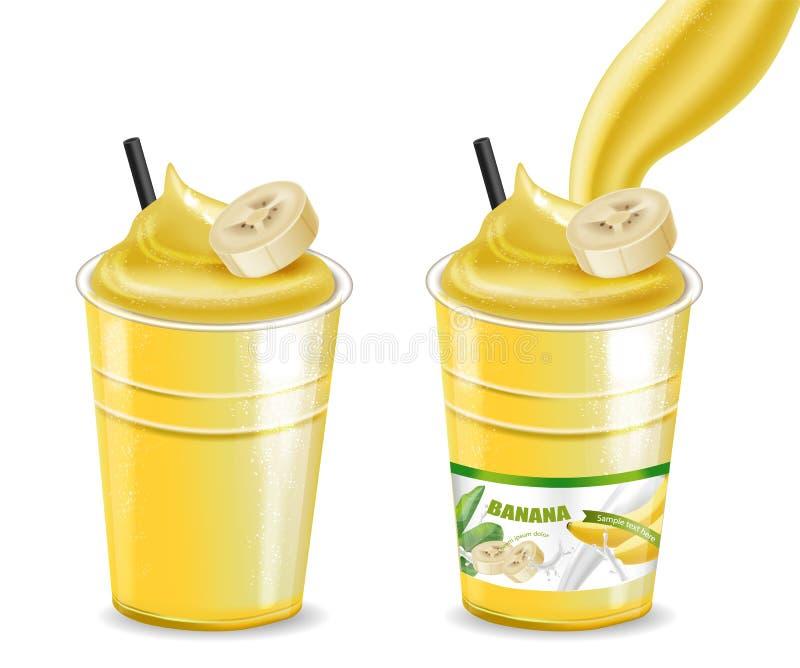 Les verres de smoothie de secousse de cocktail de banane dirigent la moquerie réaliste  Boisson juteuse avec l'éclaboussure Place illustration libre de droits