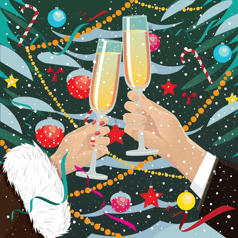 Les verres de tintement de couples s'approchent de l'arbre de Noël dehors illustration libre de droits