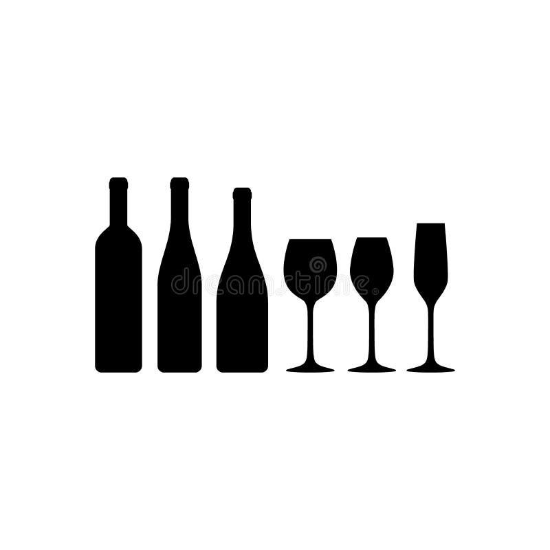 Les verres de vin et les bouteilles de vin de base dirigent des icônes de silhouette illustration libre de droits