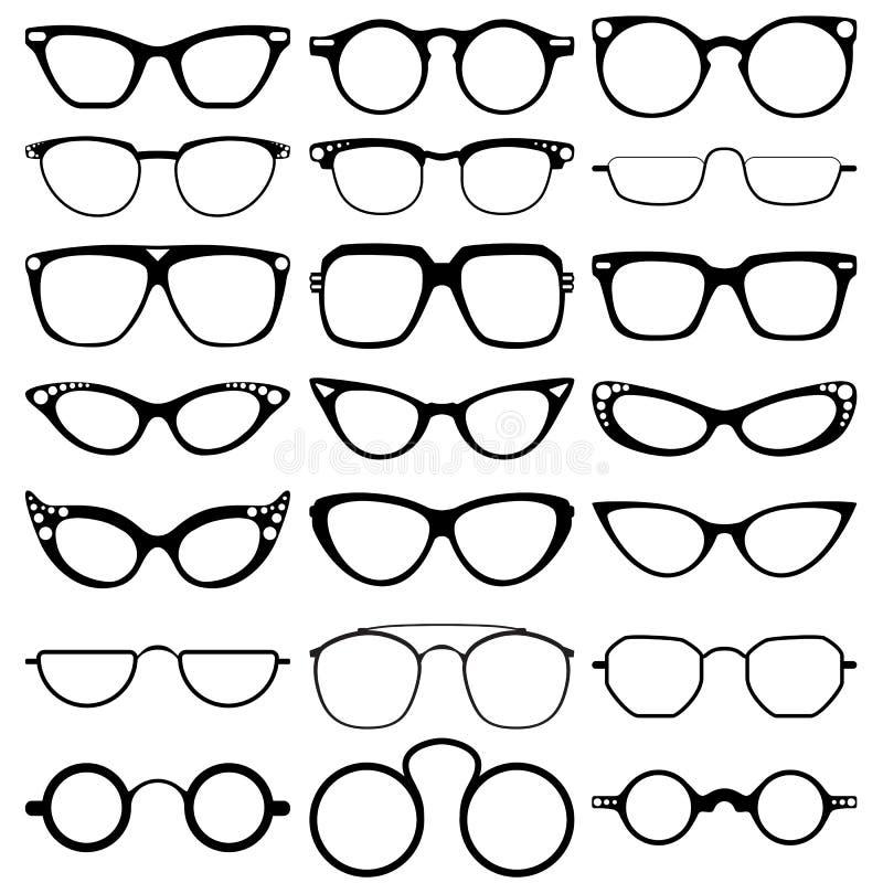 Les verres modèlent des icônes, homme, cadres de femmes Lunettes de soleil, lunettes sur le blanc photos libres de droits