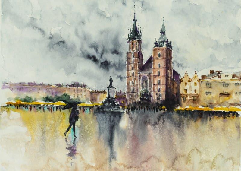 Les vieilles aquarelles de ville de Cracovie ont peint photos libres de droits