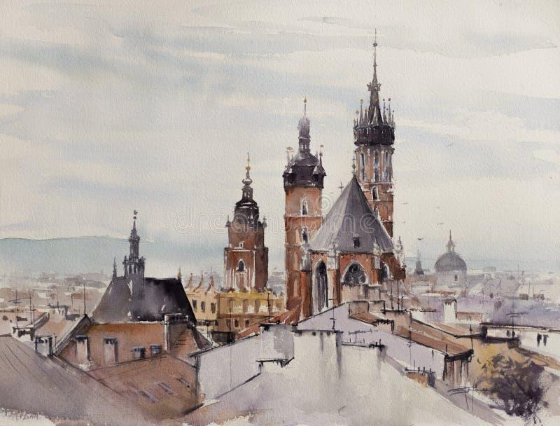 Les vieilles aquarelles de ville de Cracovie ont peint images libres de droits