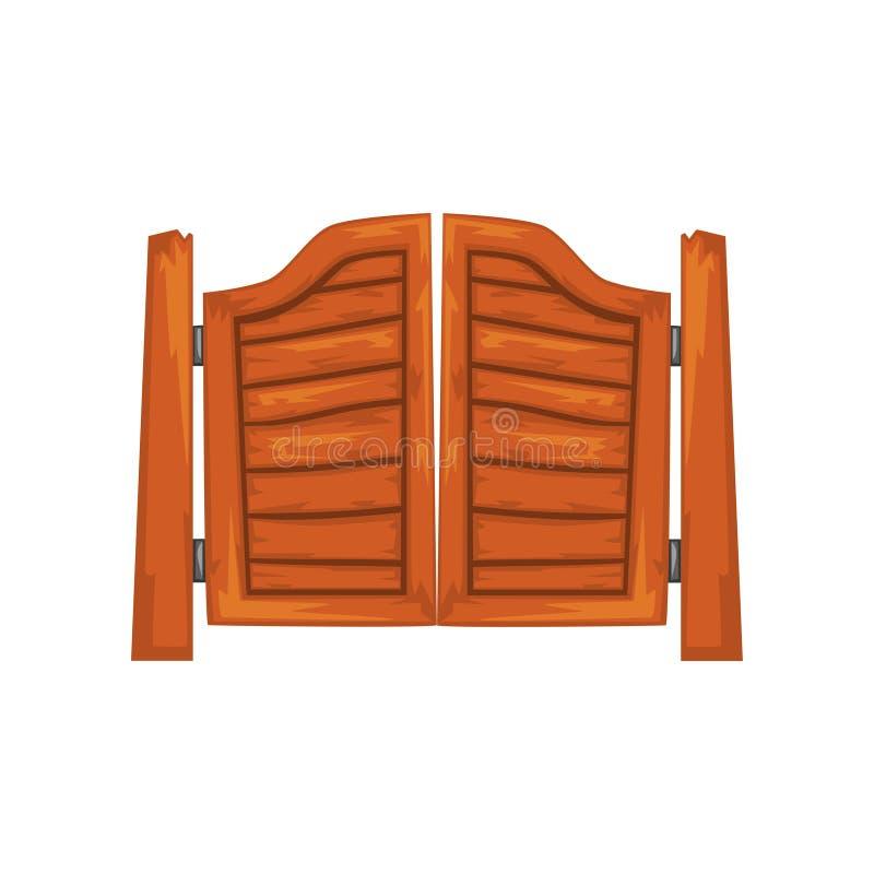 Les vieilles portes de oscillation occidentales de salle dirigent l'illustration sur un fond blanc illustration stock