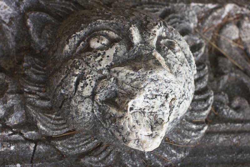 Les vieilles ruines antiques du Lycian dans Phaselis ont vieilli des pierres à la tête du ` s de lion de forêt de pins photos libres de droits