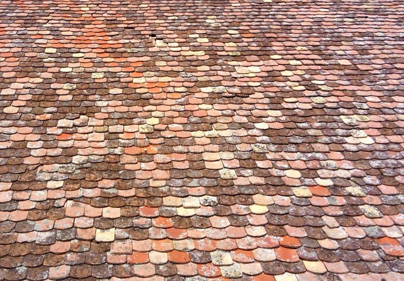 Les vieilles tuiles de toit pêchent l'échelle images libres de droits