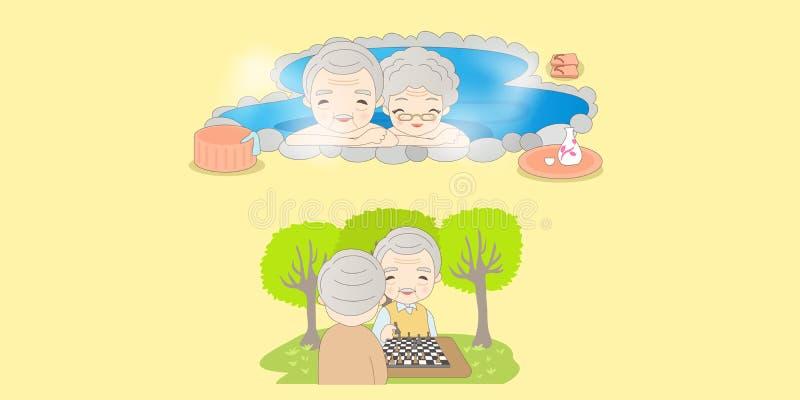 Les vieux couples apprécient la vie illustration libre de droits