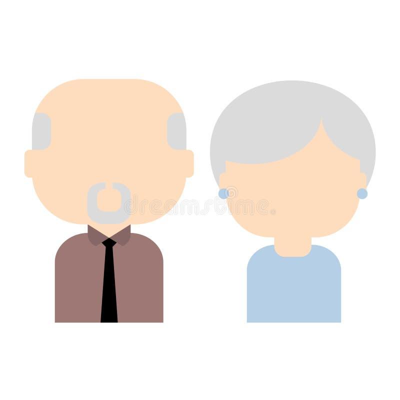 Les vieux couples heureux, dirigent l'illustration plate illustration stock