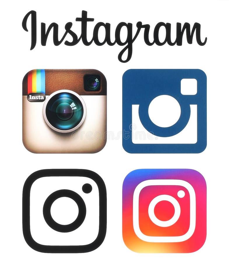 Les vieux et nouveaux logos d'Instagram et icônes ont imprimé sur le livre blanc illustration libre de droits