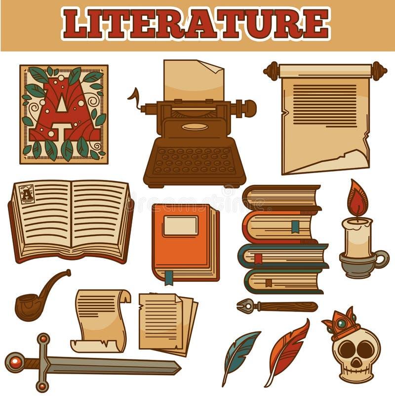 Les vieux livres de vintage de littérature et cannette d'auteur encrent le stylo illustration de vecteur