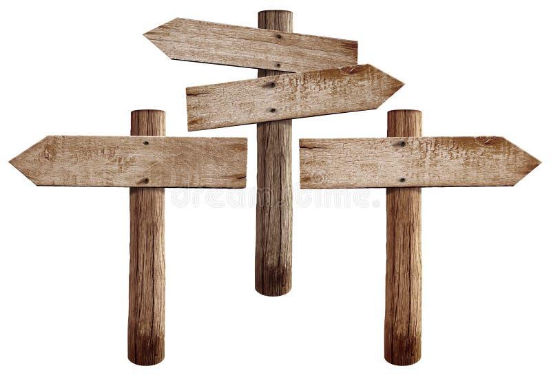 les vieux panneaux routiers en bois redressent gauche et les deux fl ches image stock image. Black Bedroom Furniture Sets. Home Design Ideas