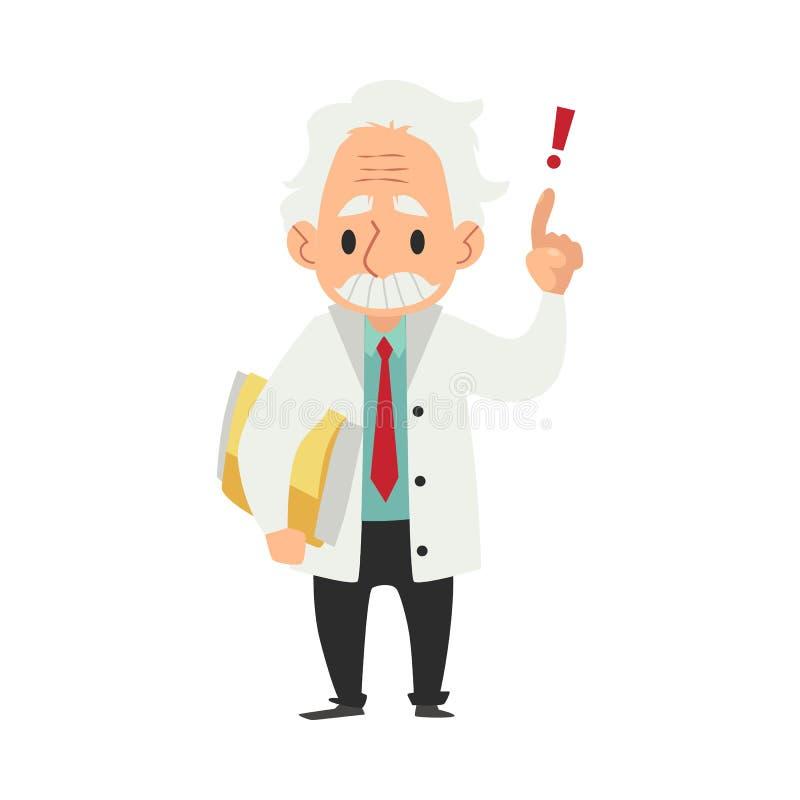 Les vieux supports masculins de scientifique avec le doigt de dossier et de main ont soulevé le style de bande dessinée illustration de vecteur