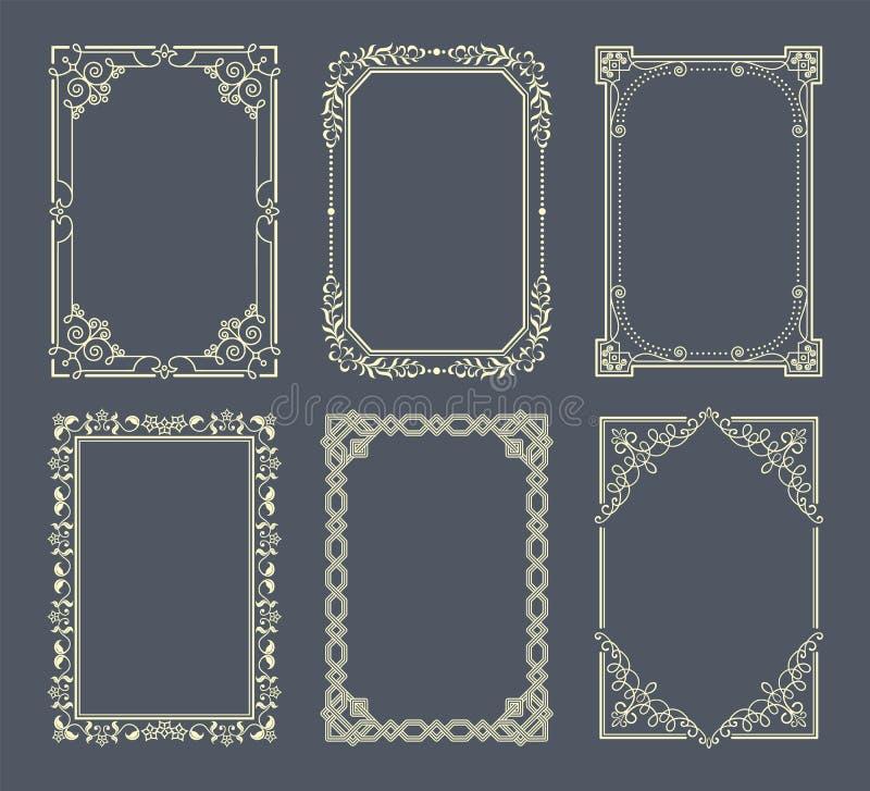 Les vignettes réglées de la photo de vintage encadre des icônes de vecteur illustration de vecteur