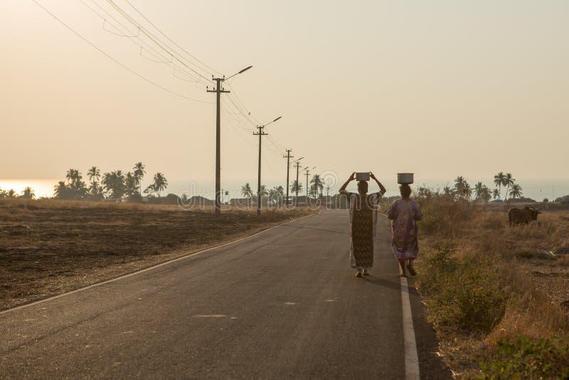 Les villageois portent l'eau dans une partie à distance d'Inde images libres de droits