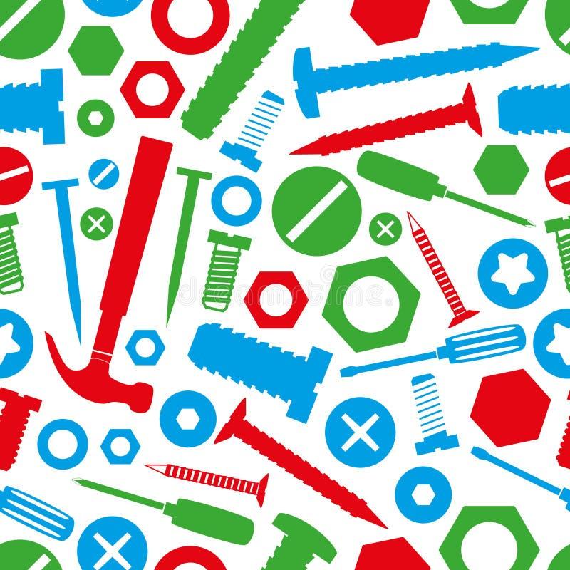 Les vis et les clous de matériel avec des outils colorent le modèle sans couture illustration de vecteur