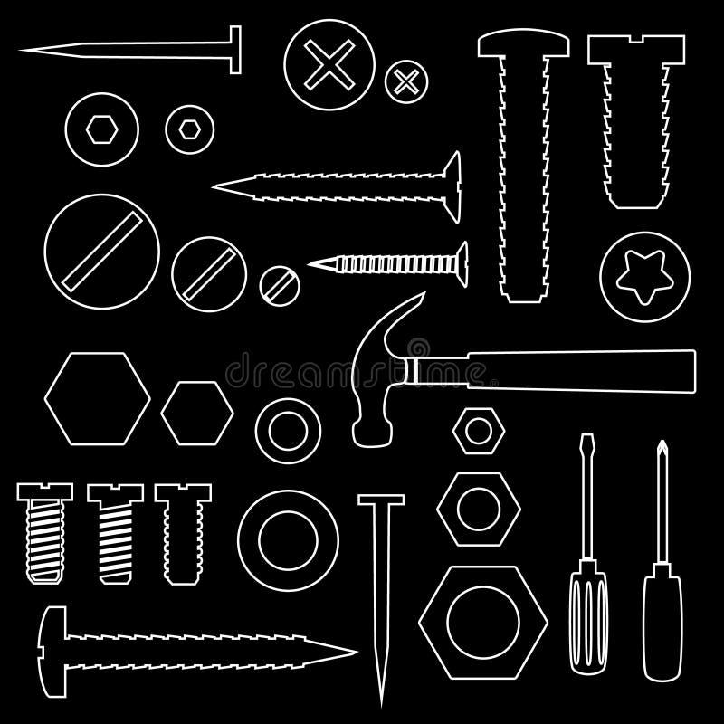 Les vis et les clous de matériel avec des outils décrivent les symboles eps10 illustration stock