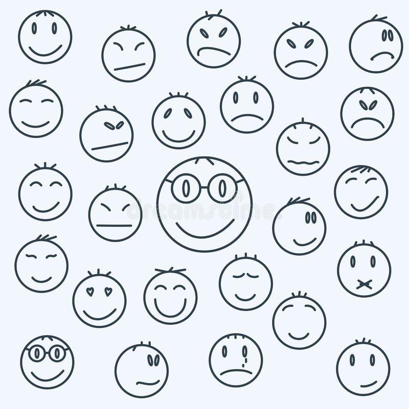 Les visages émotifs de bande dessinée, ont placé des bandes dessinées exprimées illustration de vecteur