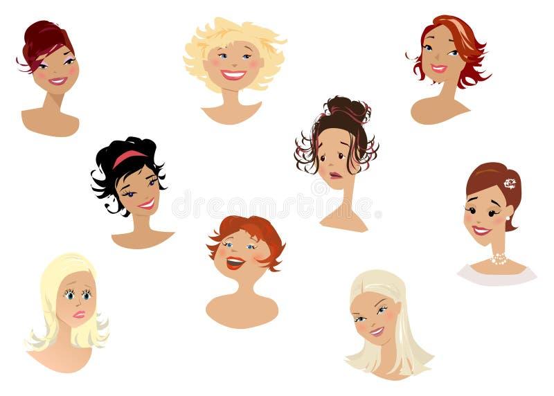 Les visages des femmes illustration de vecteur
