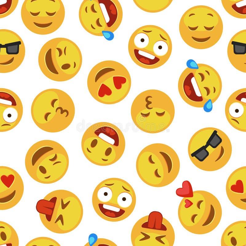 Les visages sourient modèle Papier peint sans couture d'expression d'émotion de causerie de messager de vecteur souriant mignon illustration libre de droits
