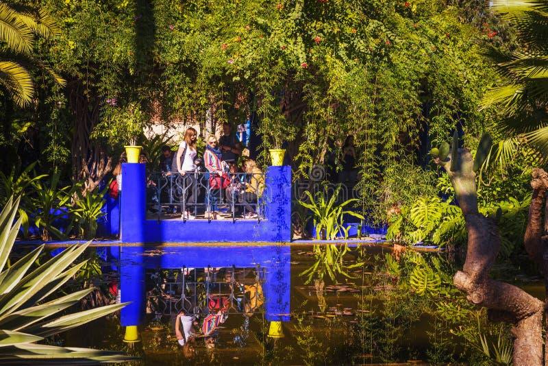 Les visiteurs regardent un étang dans le jardin botanique de Jardin Majorelle à Marrakech photos libres de droits