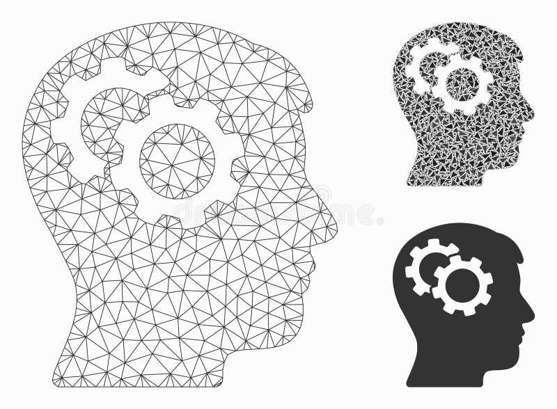 Les vitesses d'intellect dirigent icône de mosaïque de modèle et de triangle de maille la 2D illustration libre de droits