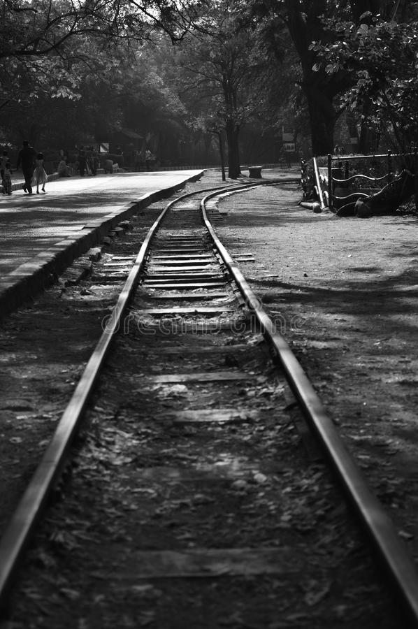 Les voies de train ont isolé noir et blanc image stock