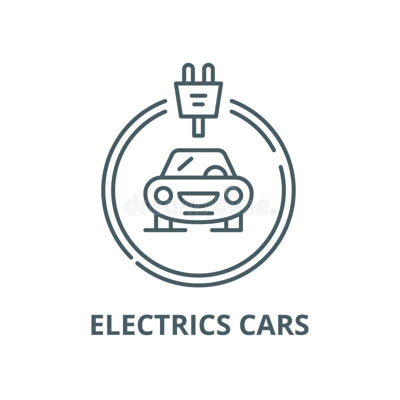 Les voitures d'électricités rayent l'icône, vecteur Les voitures d'électricités décrivent le signe, symbole de concept, ill illustration de vecteur