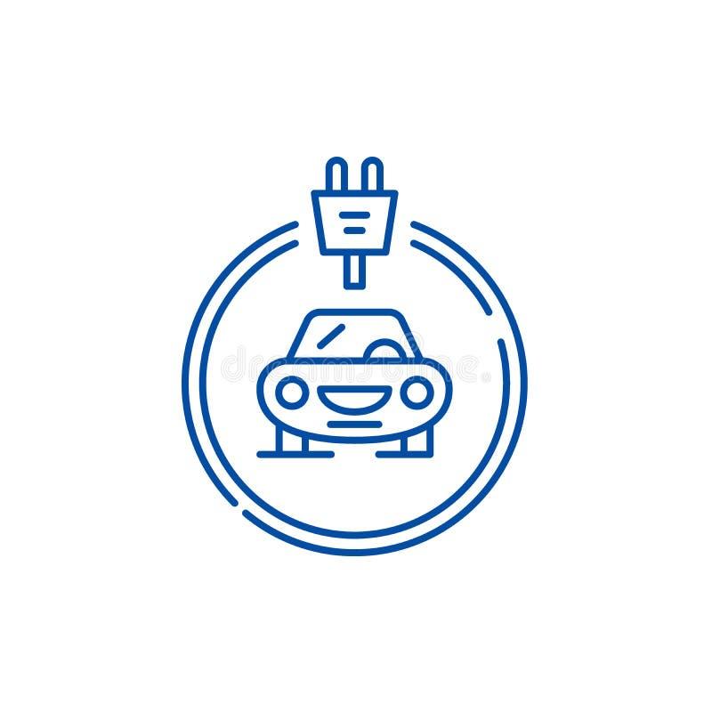 Les voitures d'électricités rayent le concept d'icône Symbole plat de vecteur de voitures d'électricités, signe, illustration d'e illustration libre de droits