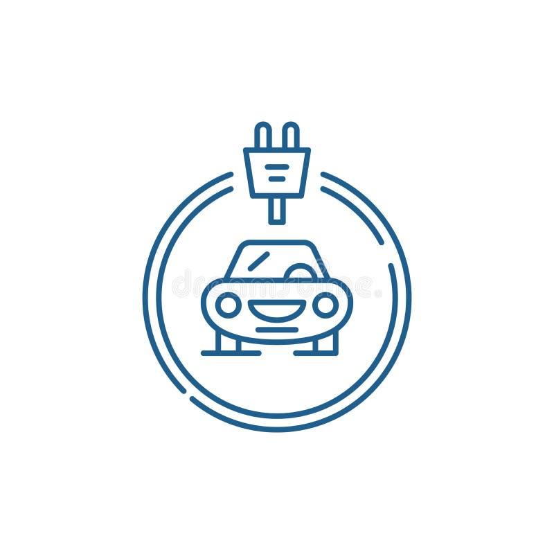Les voitures d'électricités rayent le concept d'icône Symbole plat de vecteur de voitures d'électricités, signe, illustration d'e illustration de vecteur