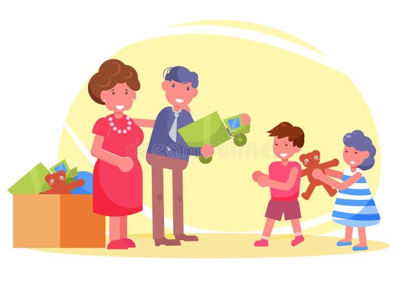 Les volontaires de charité donnent des jouets aux enfants de l'abri illustration stock