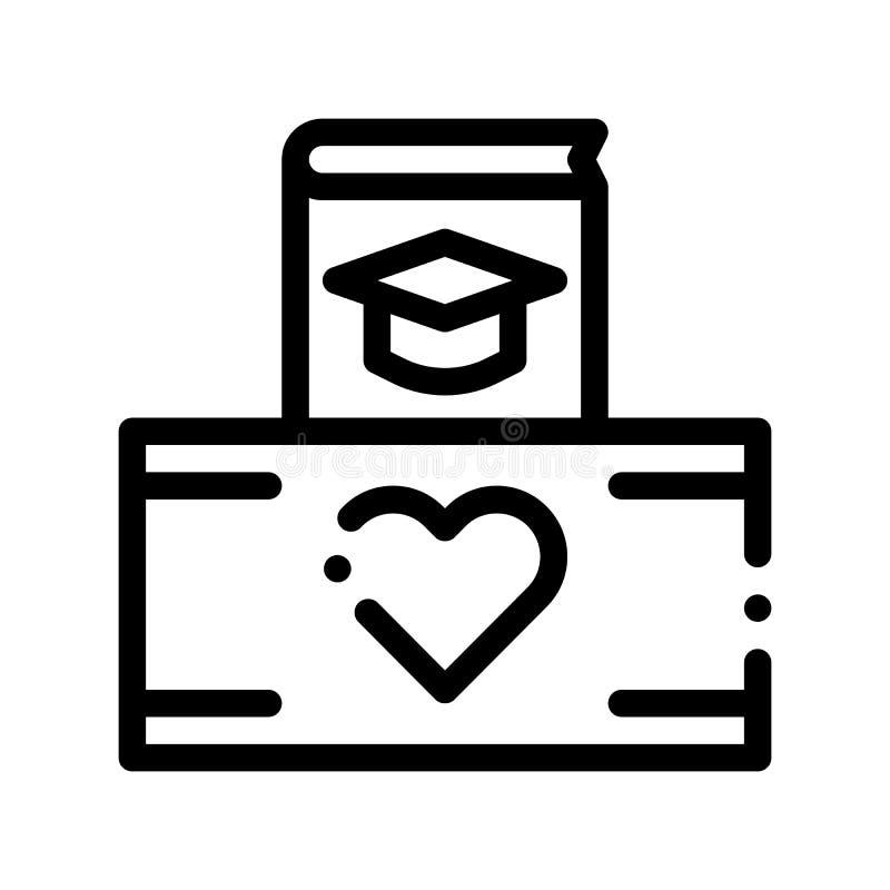 Les volontaires soutiennent la ligne mince icône de vecteur de boîte d'étude illustration stock