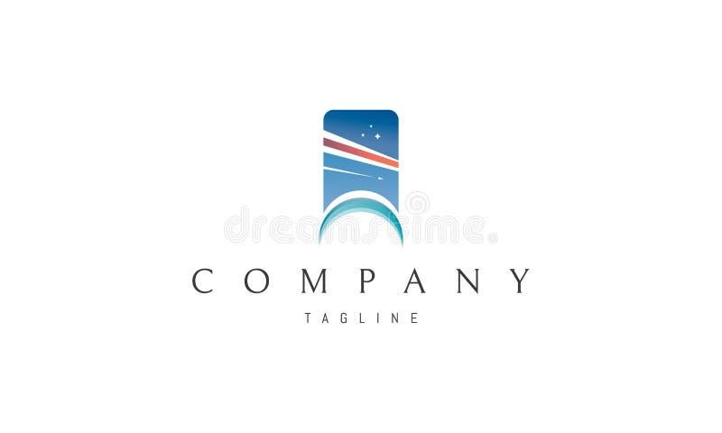 Les vols d'air soustraient la conception bleue de logo de vecteur illustration stock