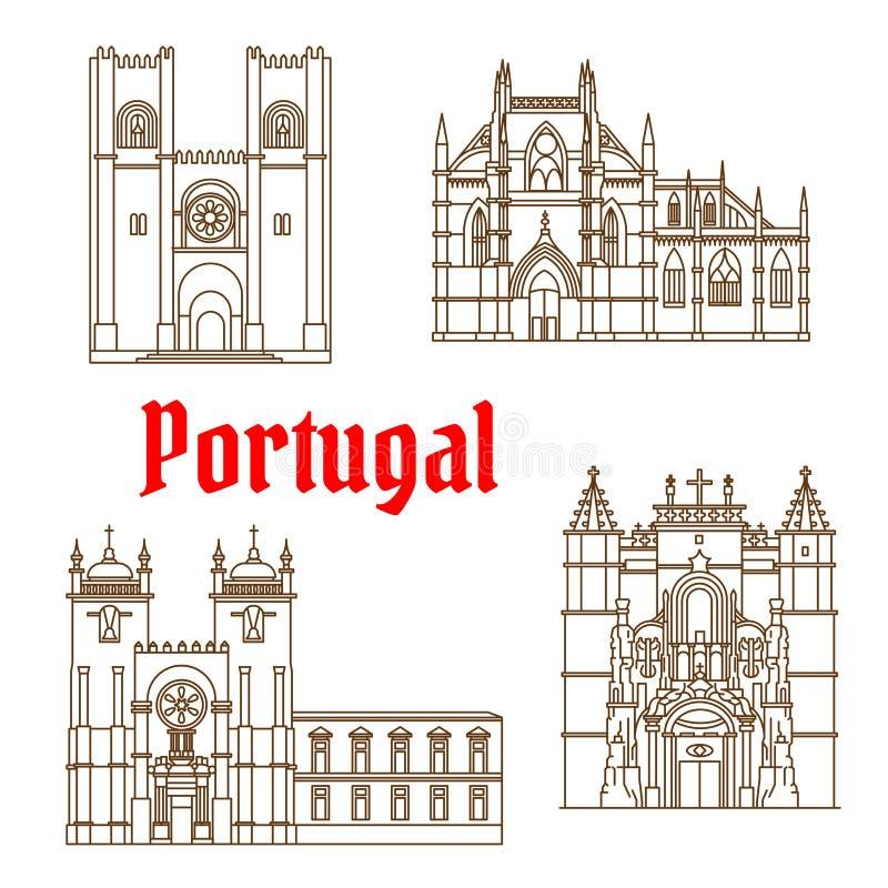 Les vues de l'icône linéaire du Portugal pour le voyage conçoivent illustration libre de droits
