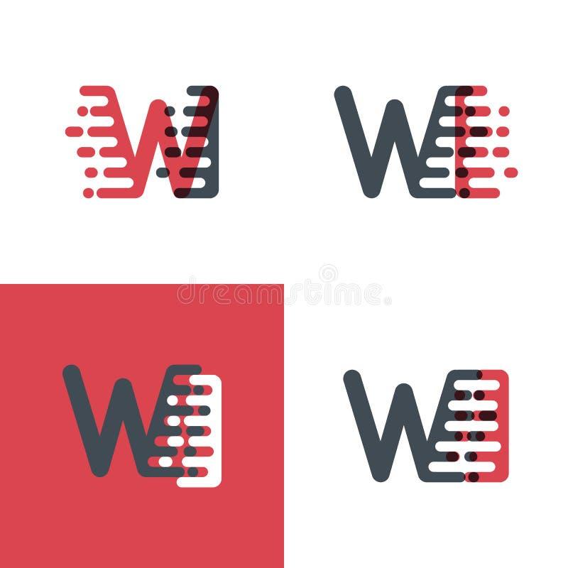Les WI marque avec des lettres le logo avec le rose de vitesse d'accent et gris-foncé illustration de vecteur