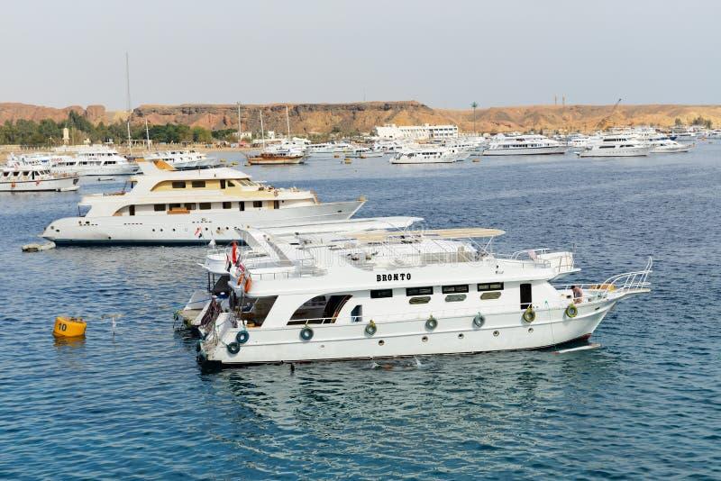 Les yachts de voile avec des touristes sont dans le port du Sharm el Sheikh images stock