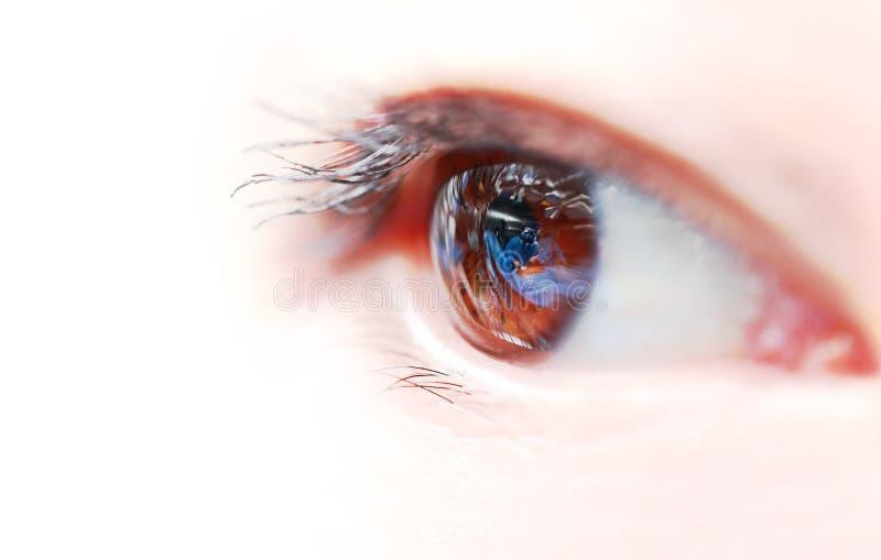 Les yeux de la femme avec la réflexion de la salle d'opération. image stock