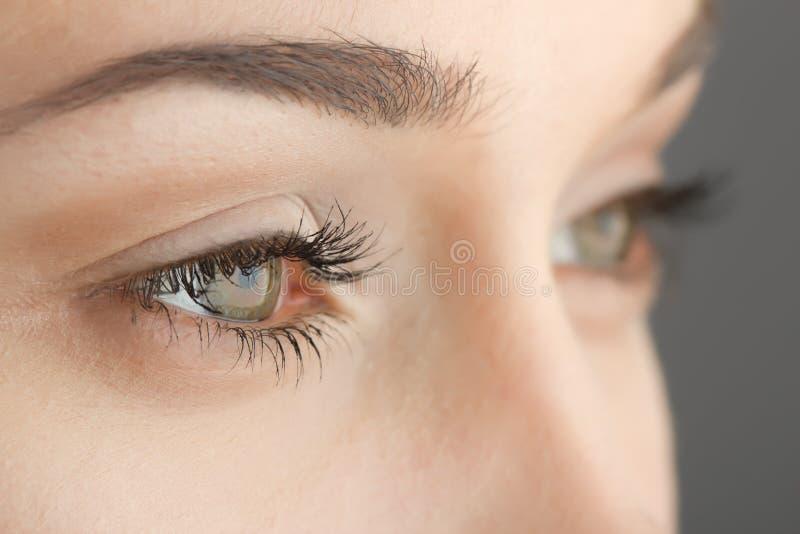 Les yeux de la femme en gros plan image libre de droits