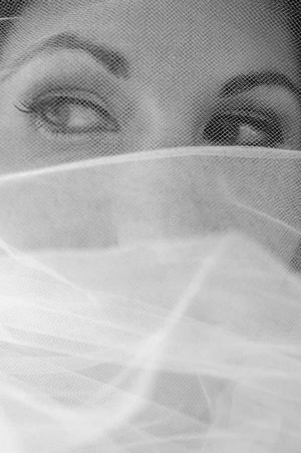 Les yeux de la mariée par le voile image libre de droits