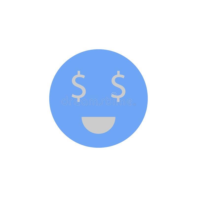 Les yeux, dollar, visage, argent, le smiley deux colorent l'icône bleue et grise illustration stock
