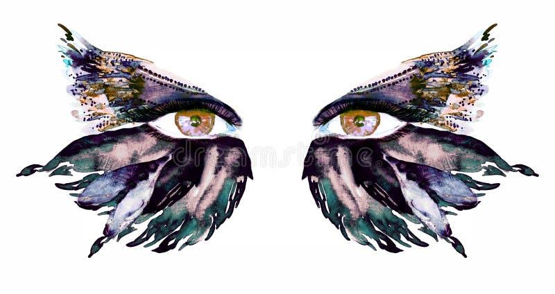 Les yeux féeriques bruns d'or avec les ailes de maquillage, vert-foncé, de bleu et de sépia du papillon forment des fards à paupi illustration de vecteur