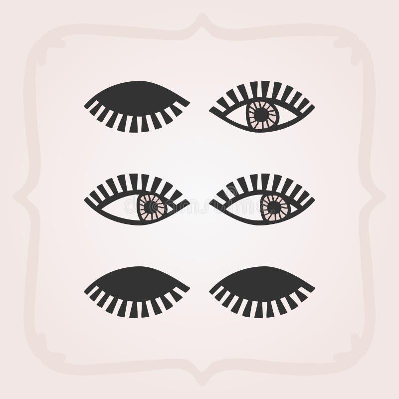 Les yeux féminins abstraits noirs ont placé sans des icônes de visages sur le rose illustration de vecteur