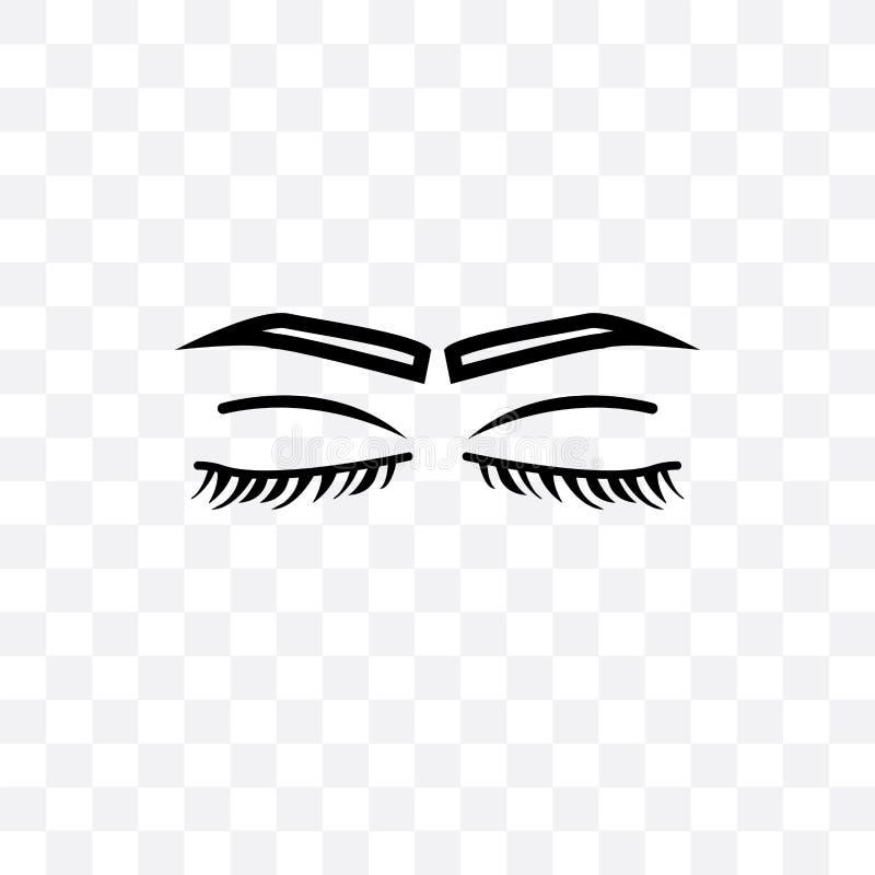 Les yeux fermés avec des mèches et des fronts dirigent l'icône linéaire d'isolement sur le fond transparent, les yeux fermés avec illustration de vecteur
