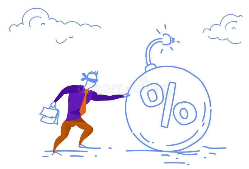 Les yeux fermés par homme d'affaires poussant le croquis horizontal de concept de crise d'affaires de bombe de dette de pour cent illustration stock